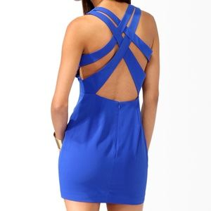 Forever 21 Royal Blue Crisscross Back Dress Small